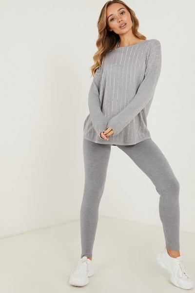 Grey Knitted Ribbed Leggings