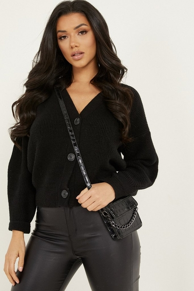 Black Knitted Crop Cardigan