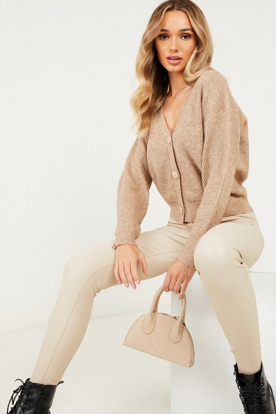 Stone Knitted Crop Cardigan