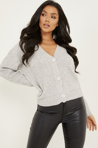 Grey Knitted Crop Cardigan