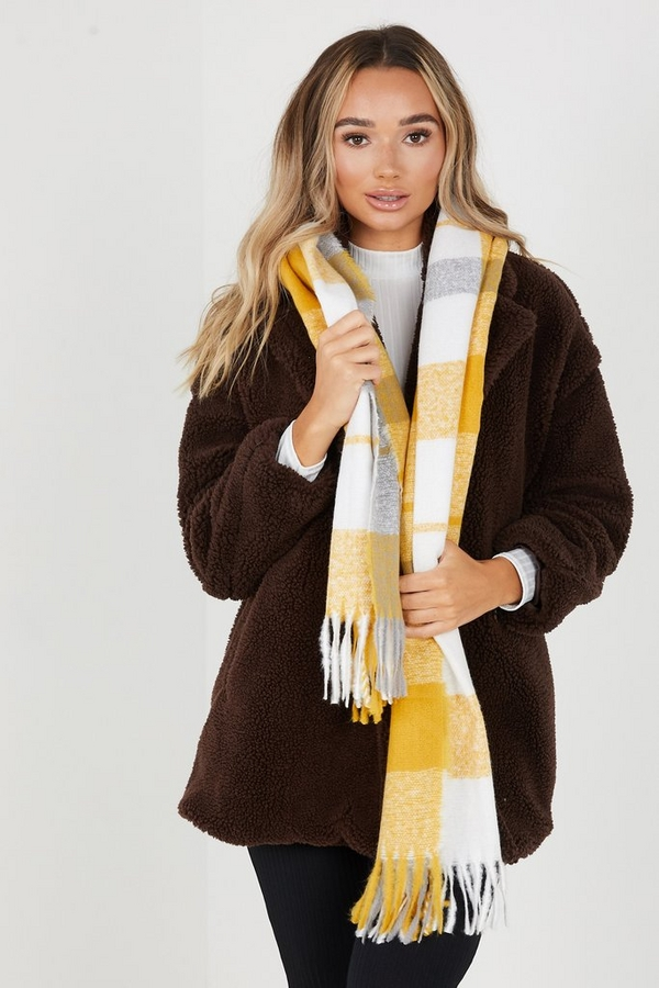 Mustard Knitted Check Scarf