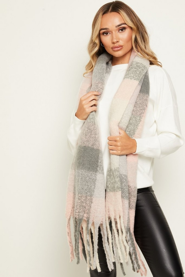 Pink & Grey Knitted Scarf