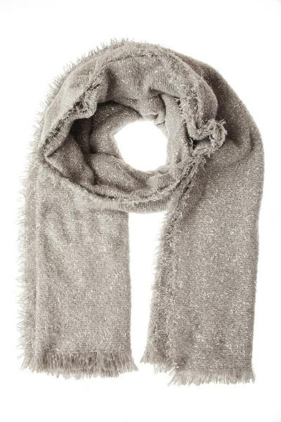 Silver Knitted Glitter Scarf