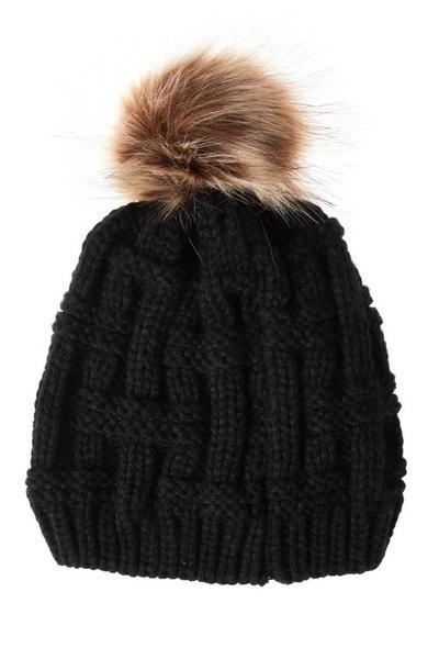 Black Knitted Pom Hat