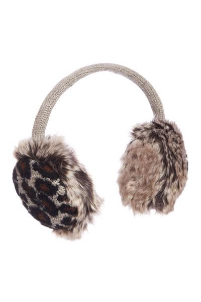 Brown Leopard Print Ear Muffs