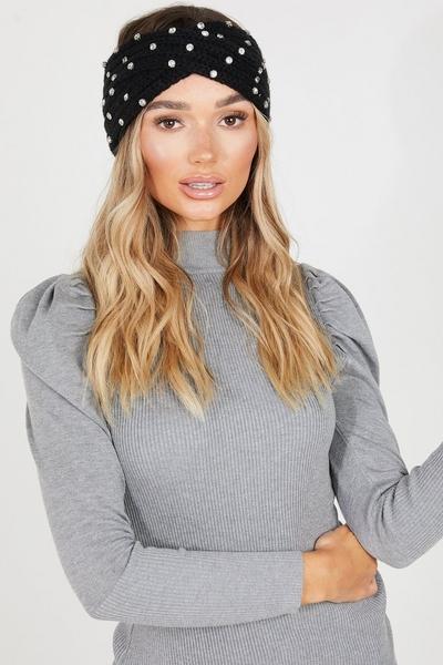 Black Jewel Knit Headband