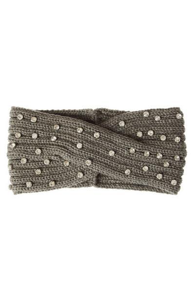 Grey Jewel Knit Headband
