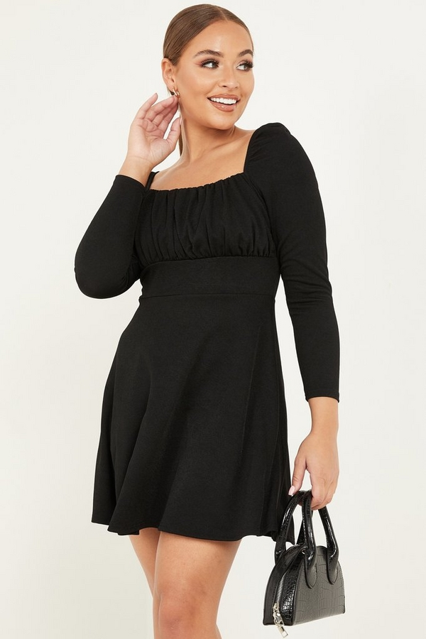 Petite Black Ruched Skater Dress