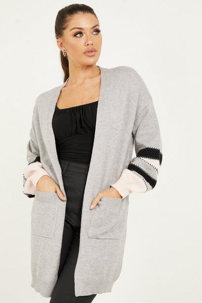 Grey Stripe Knitted Long Cardigan