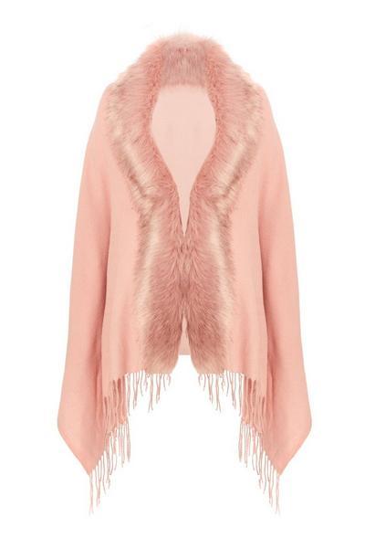 Pink Faux Fur Cape