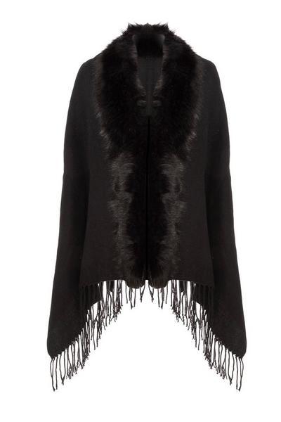 Black Faux Fur Cape