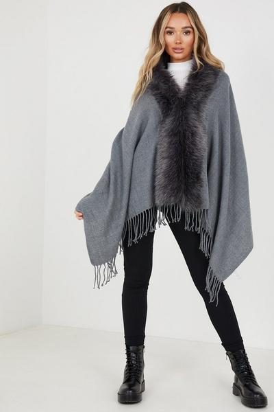 Grey Faux Fur Cape
