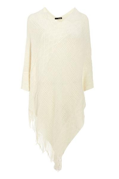 Cream Knitted Poncho