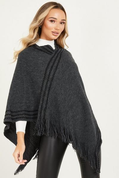 Dark Grey Knitted Poncho
