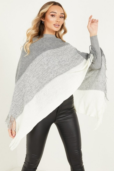 Grey Stripe Poncho