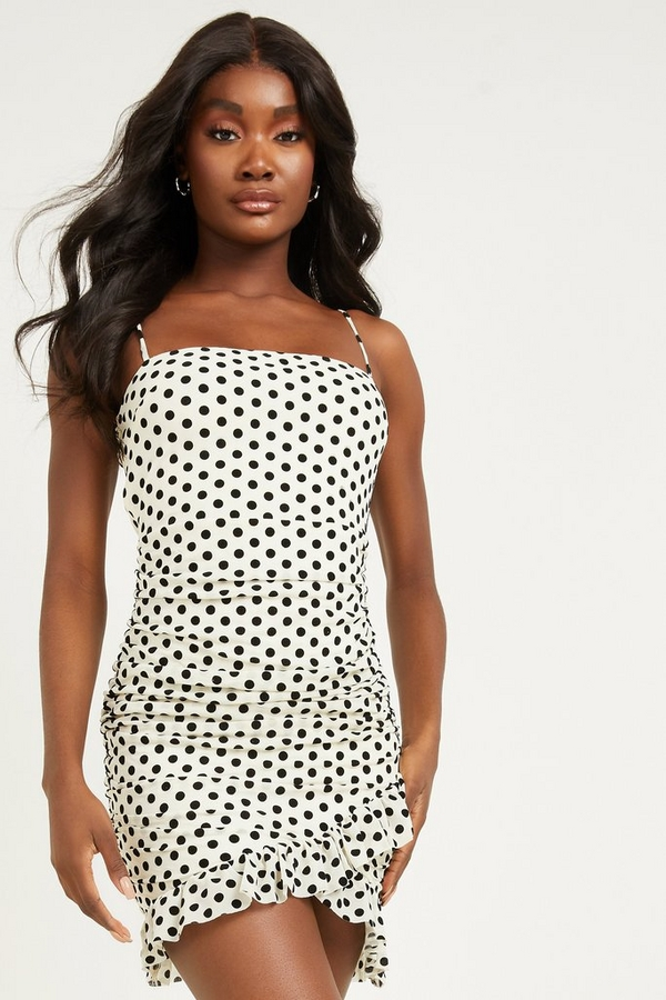 White Polka Dot Bodycon Dress