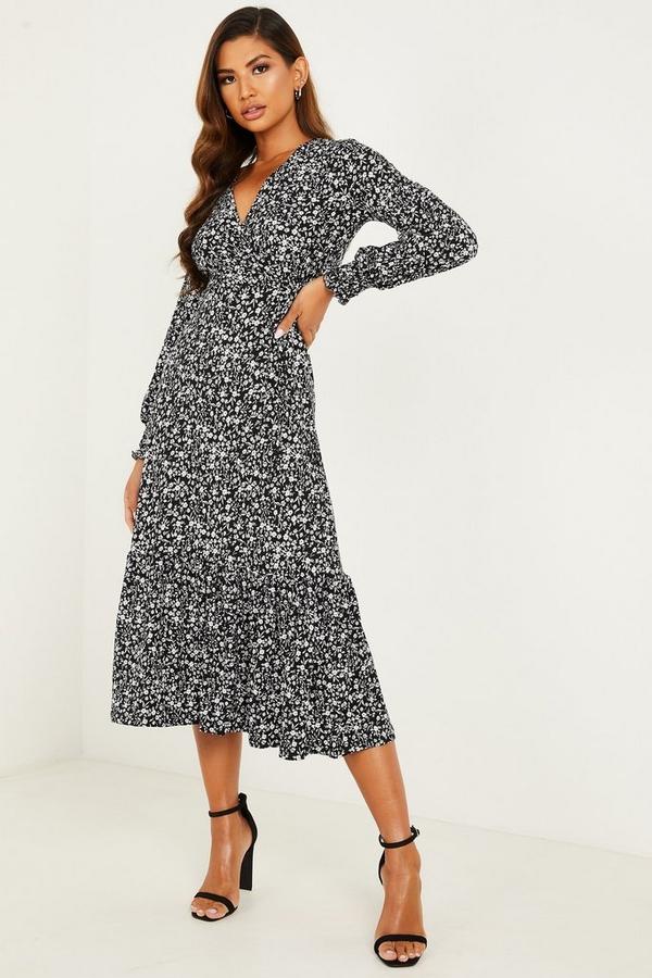 Black Floral Wrap Midi Dress