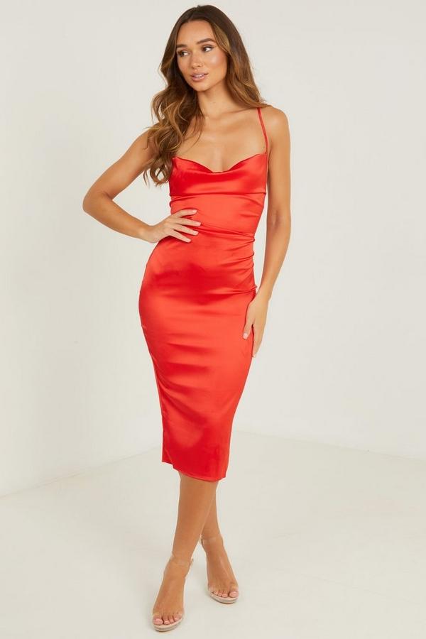 Red Satin Cowl Neck Midi Dress