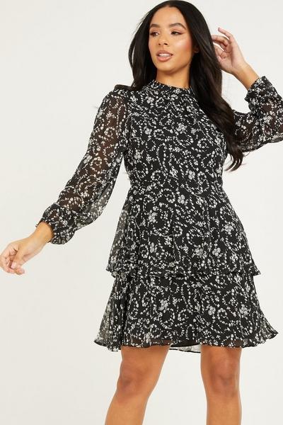 Black & White Floral Skater Dress