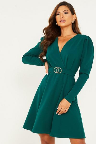 Bottle Green Buckle Detail Skater Dress
