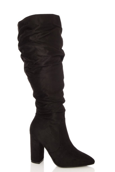 Wide Fit Black Ruched Knee High Boots