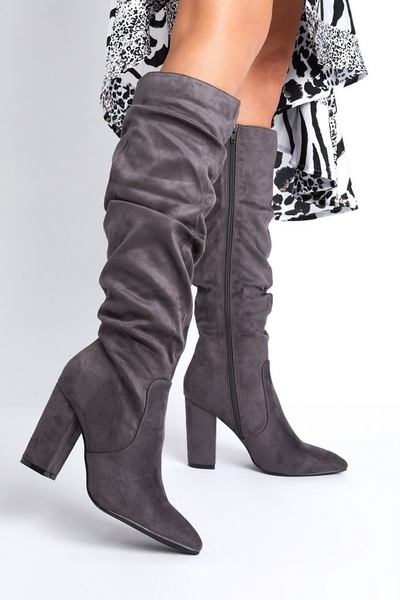 Grey Ruched Knee High Boots