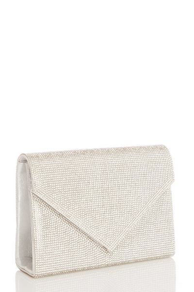 Silver Diamante Clutch Bag