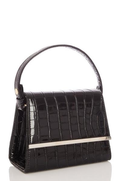 Black Crocodile Mini Tote Bag