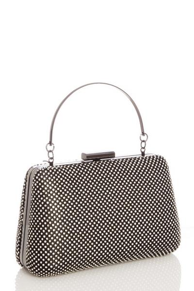 Black Diamante Handle Box Bag