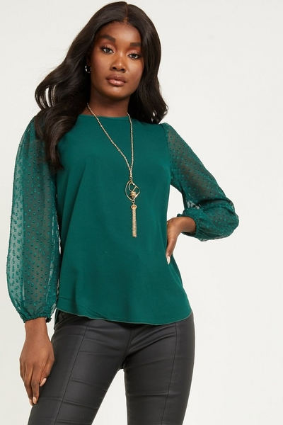Bottle Green Polka Dot Mesh Necklace Top