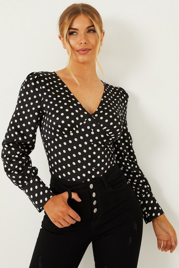 Petite Black Polka Dot Satin Bodysuit