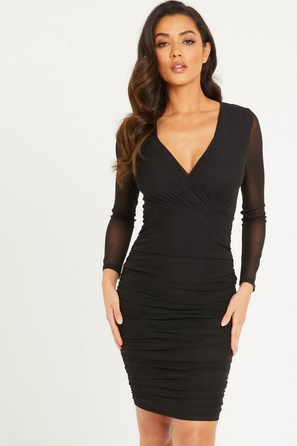Black Mesh Bodycon Midi Dress