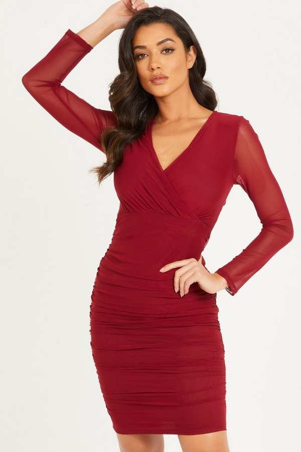 Berry Mesh Bodycon Midi Dress