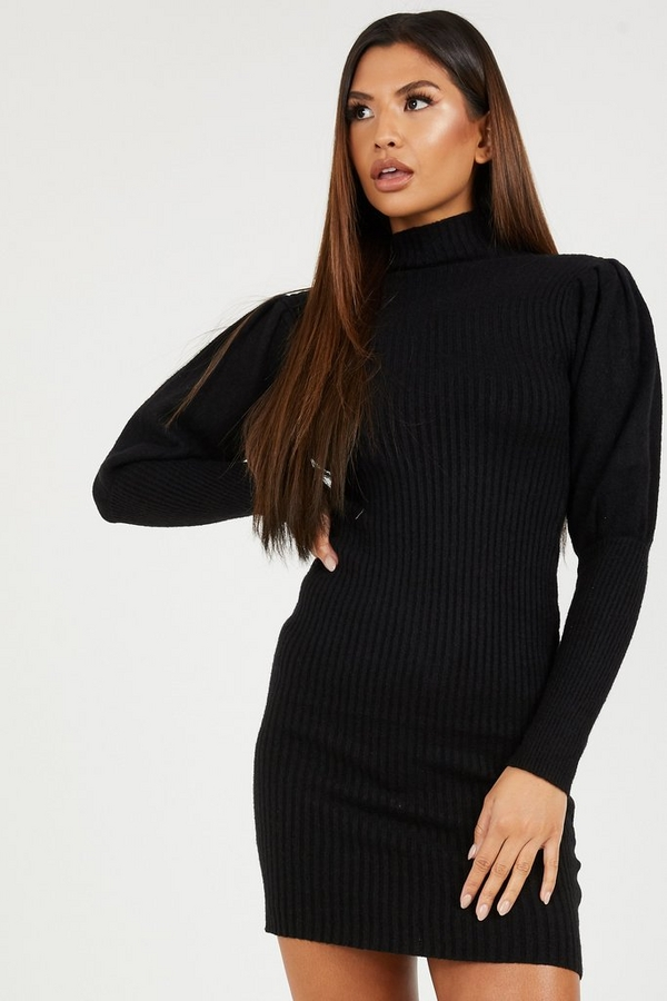 Black Puff Sleeve Knitted Jumper Dress