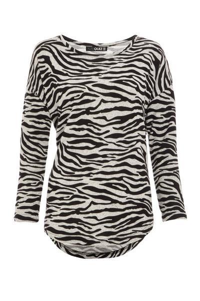 Grey Knitted Zebra Print Top