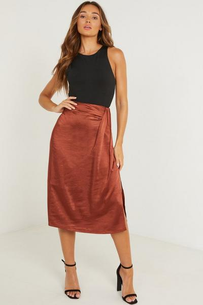 Rust Satin Split Midi Skirt