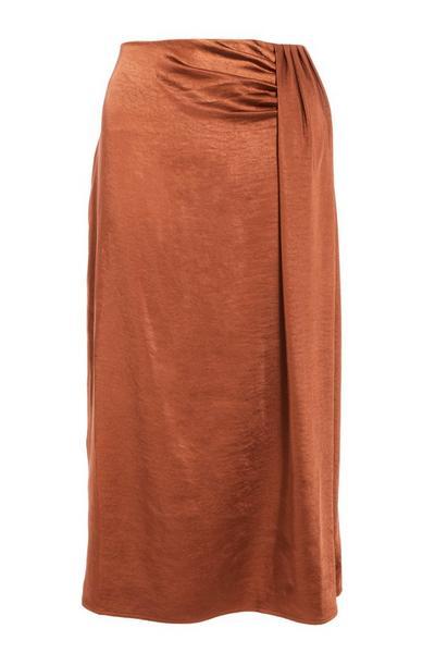 Rust Satin Split Midi Skirt