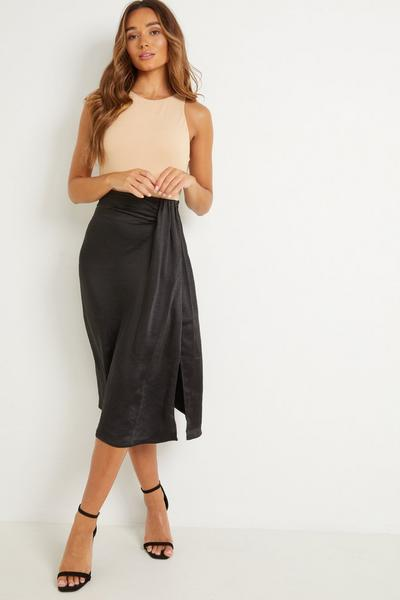 Black Satin Split Midi Skirt