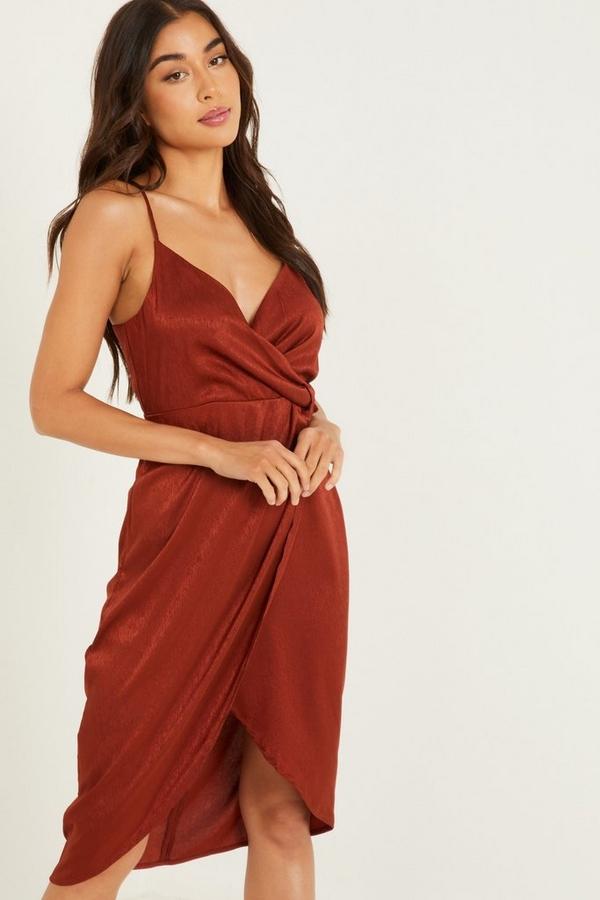 Rust Satin Wrap Midi Dress