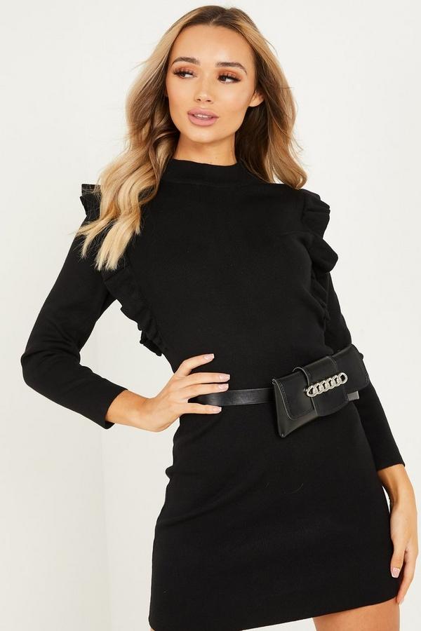 Black Knitted Frill Jumper Dress