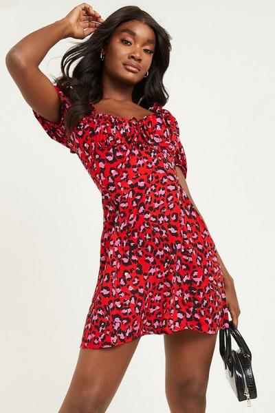 Red Leopard Puff Sleeve Skater Dress