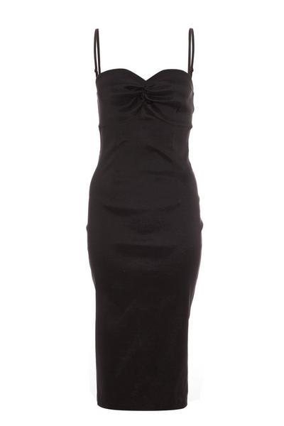 Black Satin Bodycon Midi Dress