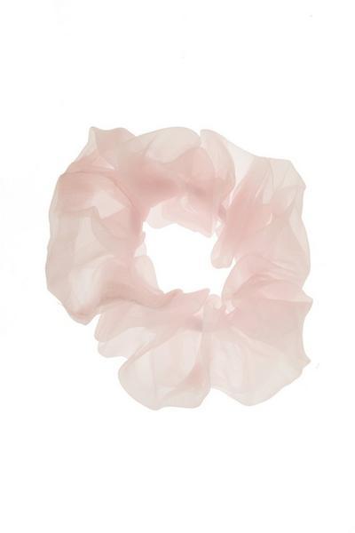 Pink Chiffon Scrunchie