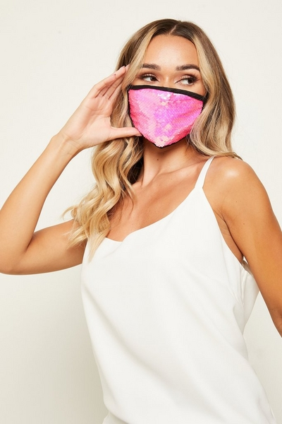 Pink Sequin Fashion Facemask