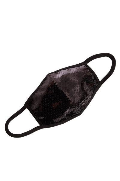 Black Sequin Fashion Facemask