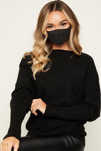 Black Diamante Fashion Facemask