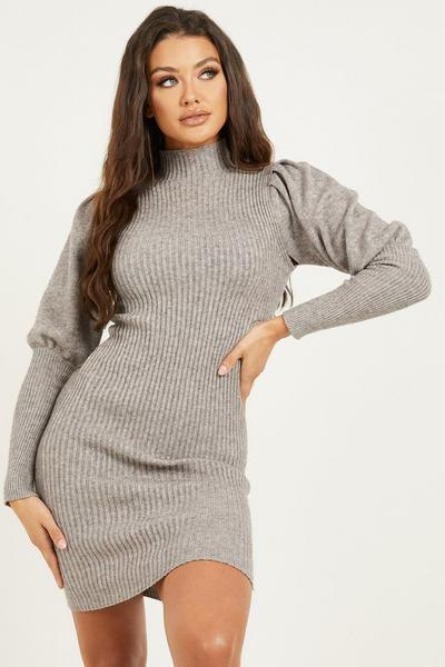 Grey Puff Sleeve Knitted Jumper Dress