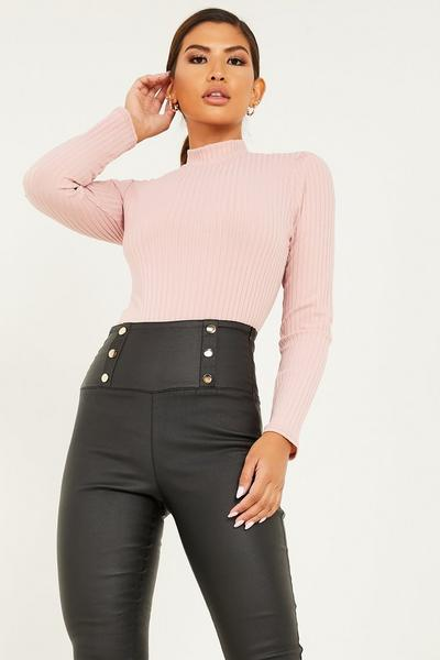 Pink Knit Turtle Neck Top