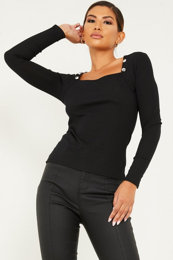 Black Ribbed Button Detail Top