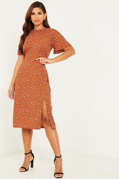 Rust Floral Ribbed Midi Dress